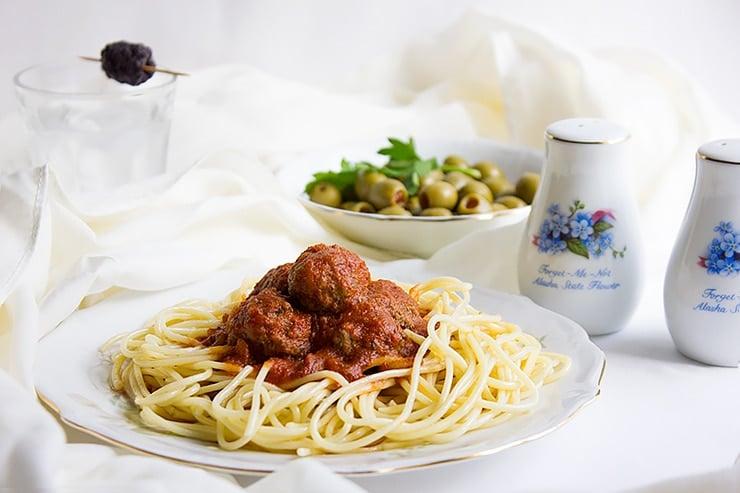 spaghetti and mini meatballs 3
