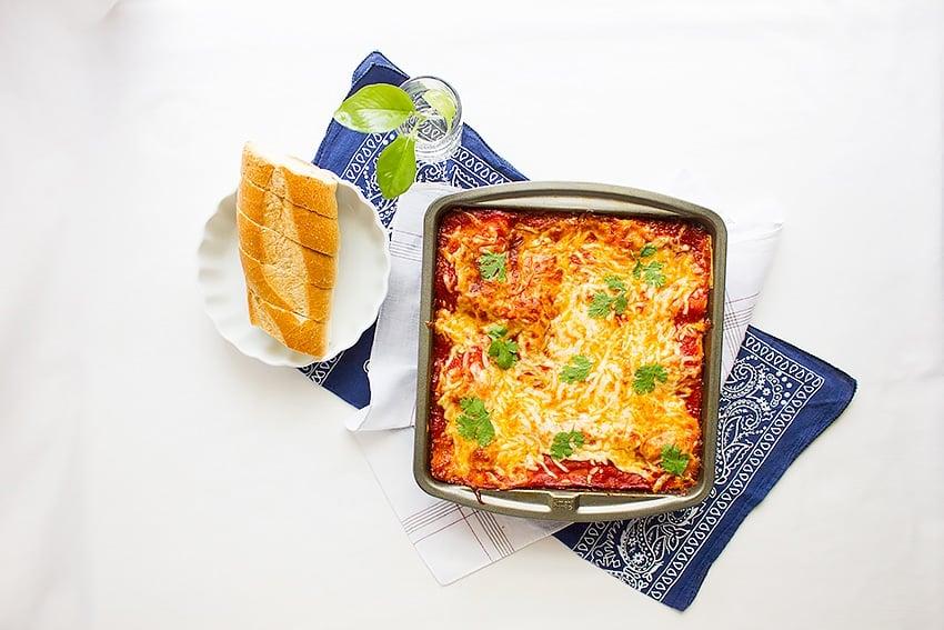 basic beef lasagna recipe overhead shot of lasagna in a pan