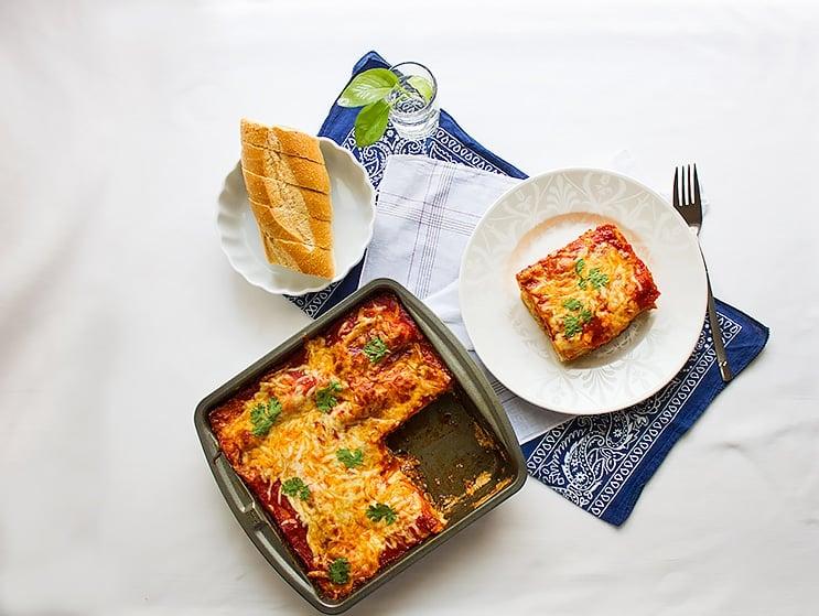basic beef lasagna recipe overhead shot