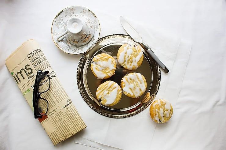 blueberry muffins overhead shot