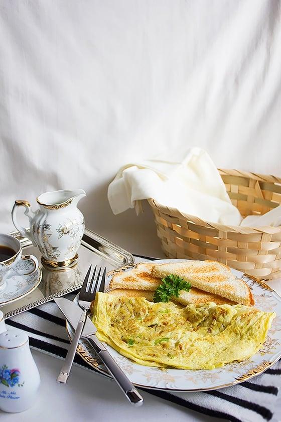 potato green onion omelet