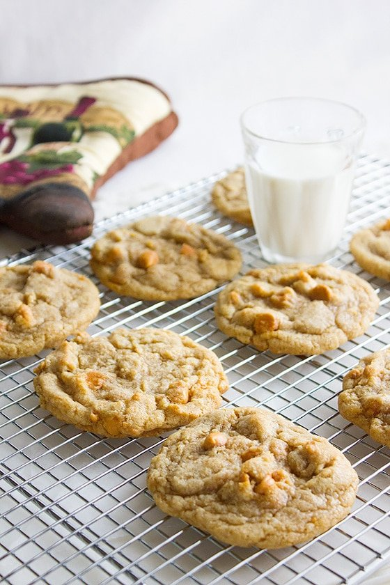 perfect butterscotch chips cookies on cooling rack with milk