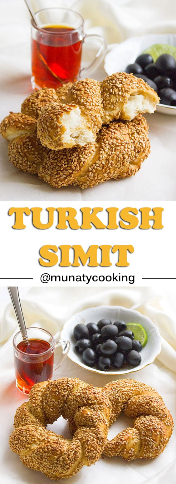 Simit is a Turkish bread similar to American bagel but has much softer crumbs. This bread is crusted with sesame seeds and served for breakfast. #simit