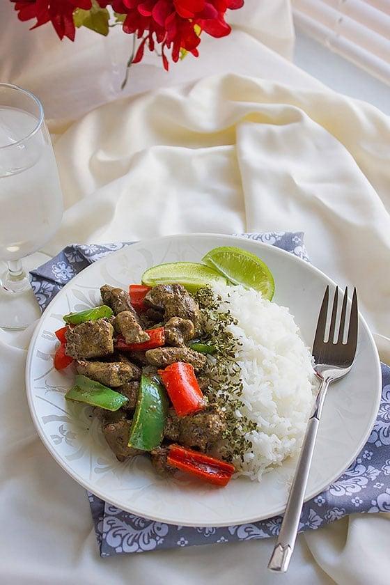 beef liver stir fry on white rice