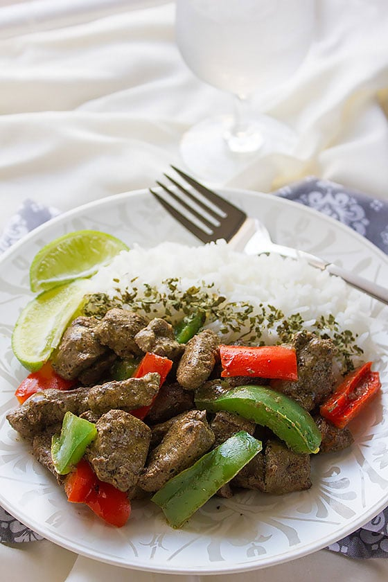 beef liver stir fry close up image