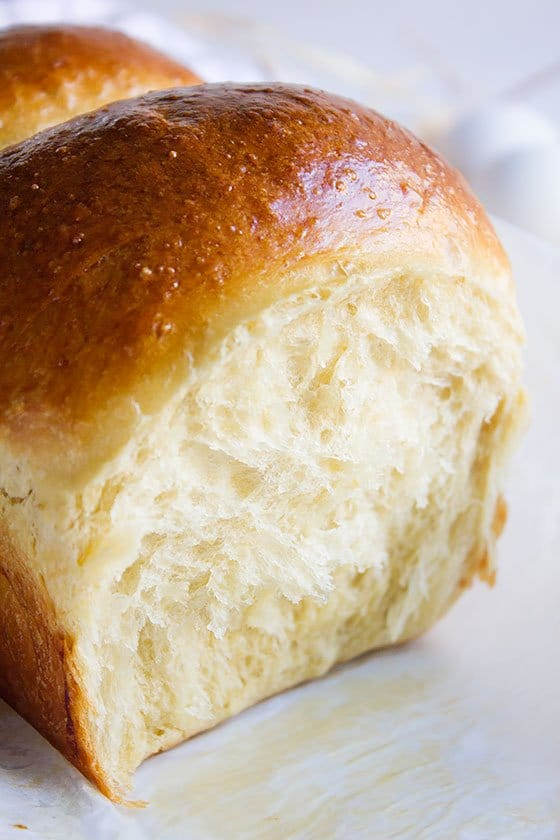 Brioche bread image showing how fluffy and light it is. #brioche #baking #bread