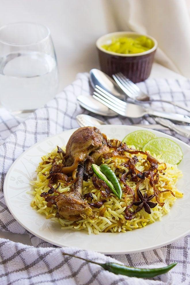 Close image of Hyderabadi chicken biryani