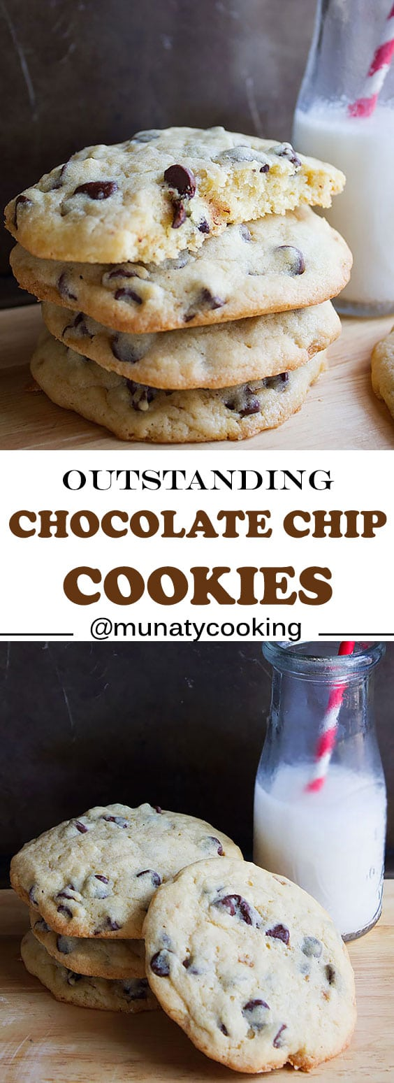 Outstanding Chocolate Chip Cookies. Buttery, thick, soft, and chewy chocolate chip cookies that are absolutely divine! Made by hands (literally). A must try for all chocolate lovers. www.munatycooking.com | @munatycooking