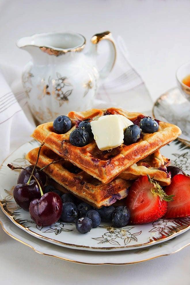 blueberry waffles side shot image
