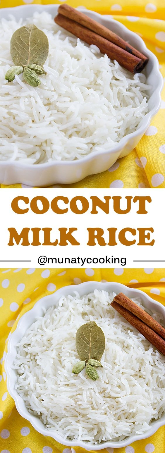 Coconut Milk Rice. This coconut milk rice recipe is fail proof and will come out perfect every time. We love this rice so much and is excellent with Thai and Indian gravies. It's bursting with coconut flavor and aroma with a hint of sweetness. www.munatycooking.com | @munatycooking