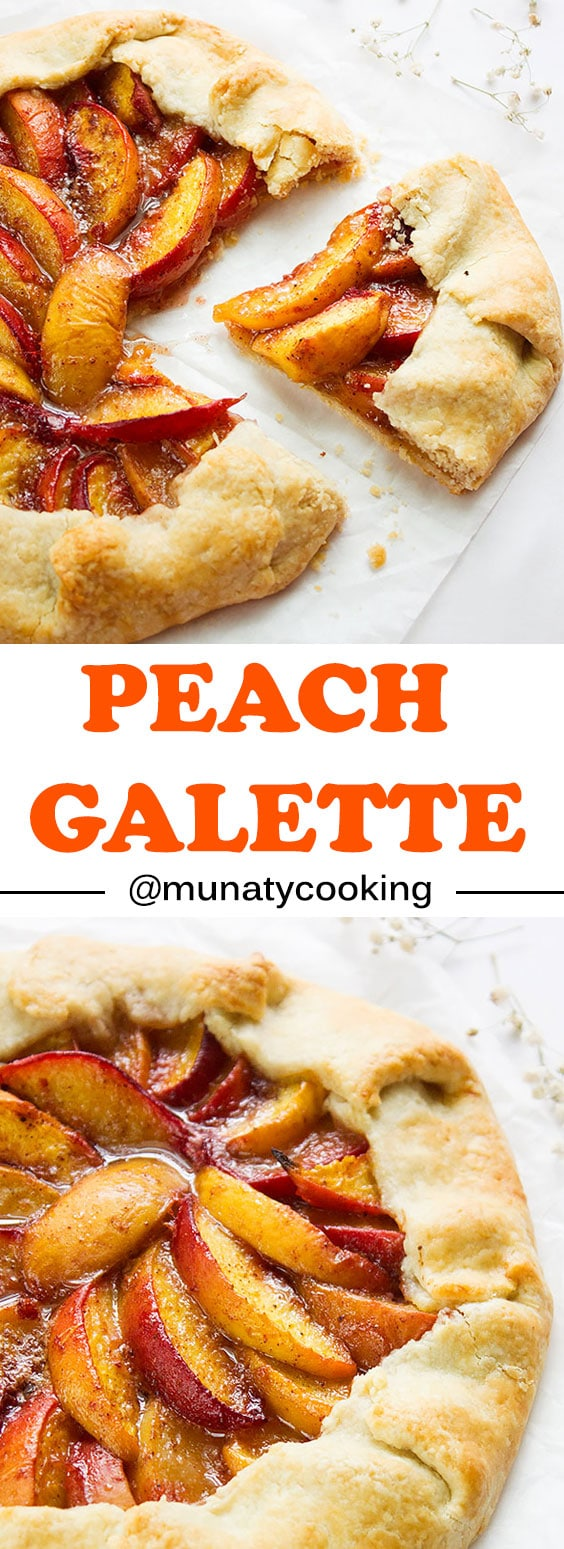 Peach Galette. Delicious and gorgeous looking French Pie. Bright and easy to make rustic peach galette recipe. You can top your slice with your favorite ice cream. Don't miss the delicious flaky crust. www.munatycooking.com | @munatycooking
