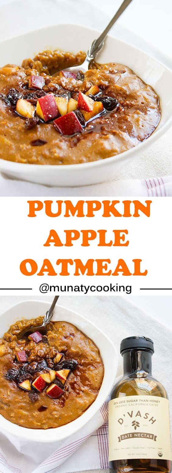 Healthy Pumpkin Apple Oatmeal. A delicious way to start the day, this pumpkin oatmeal recipe has everything you'll need to boost your energy, comforting and lusciously creamy. Taste like a pumpkin pie and takes only 5 minutes to cook. www.munatycooking.com | @munatycooking