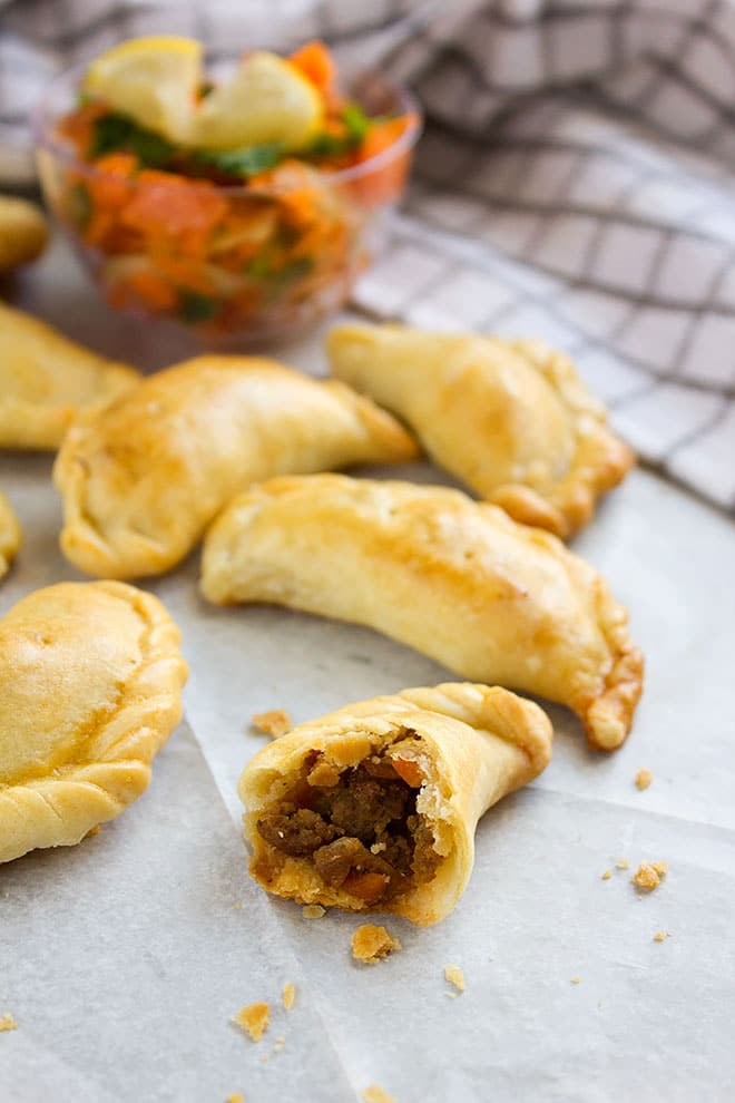 Beef Empanadas. An easy recipe for beef empanadas. Homemade empanadas dough, a flaky and delicious wrap. These empanadas are perfect for parties. www.munatycooking.com | @munatycooking
