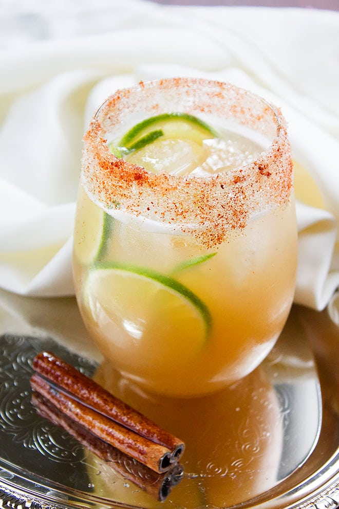 Slices of lime in Apple Cider drink.
