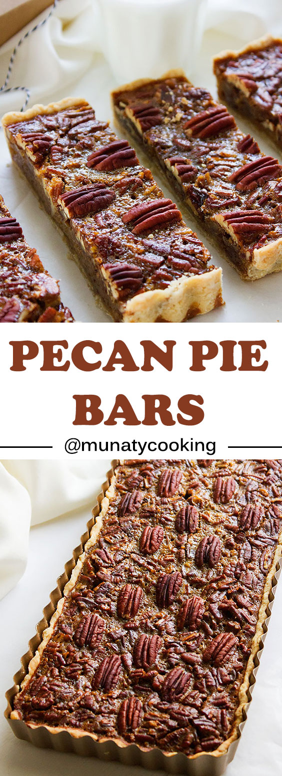 Pecan Pie Bars. Easy to make classic pecan pie bars. This pecan pie recipe is without corn syrup yet you get a better tasting delight that will find its way to your favorite list. Learn how to make pecan pie bars using the finest ingredients. #AD www.munatycooking.com | @munatycooking |