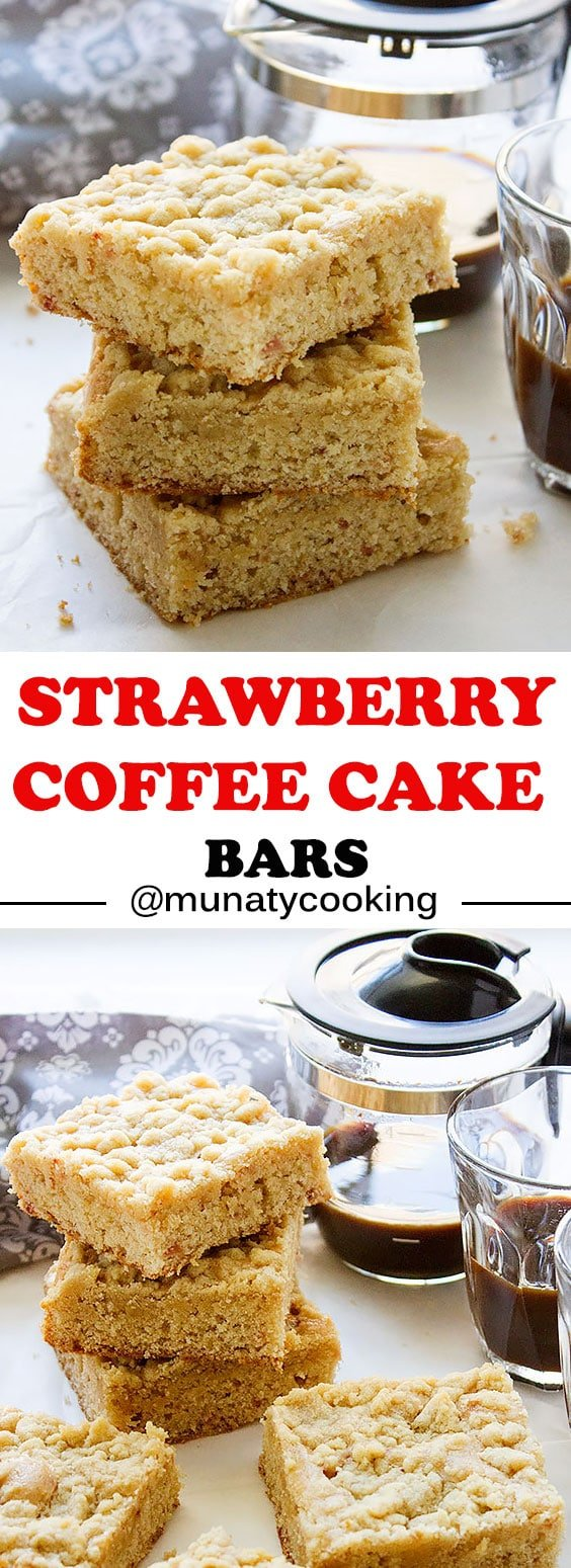 Strawberry Coffee Cake. A moist and delicious coffee cake, filed with chunks of strawberry jam. This cake is perfect with coffee and tea. www.munatycooking.com | @munatycooking