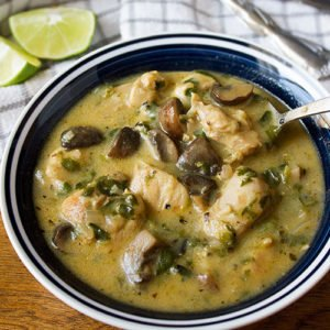 Feature image of Creamy Chicken and Mushroom Soup with Spinach