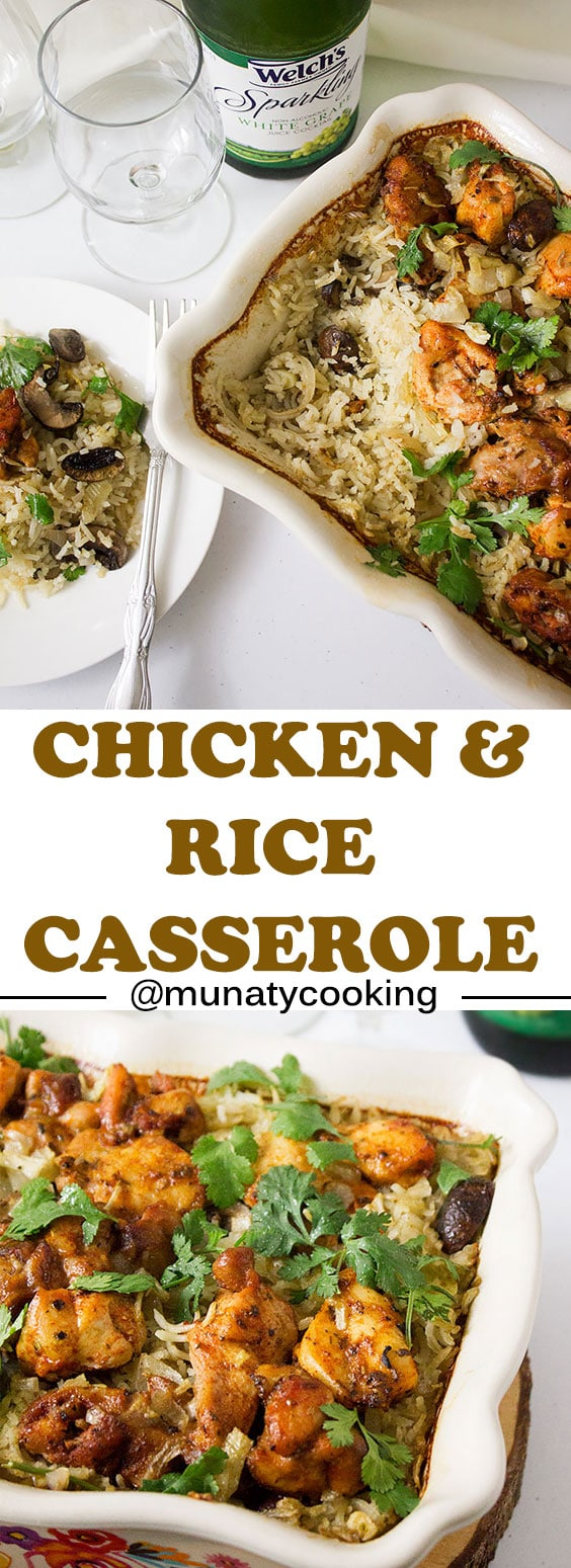 Easy Chicken and Rice Casserole. Dinner made easy! This oven baked chicken and rice recipe is full of flavor and so easy to put together. Learn how to make perfect and delicious baked chicken and rice casserole. www.munatycooking.com | @munatycooking