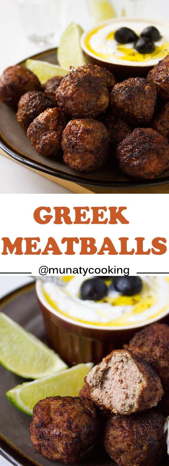 Greek Meatballs with Tzatziki Dip Recipe. Learn how to make juicy and flavorful Greek meatballs with ingredients available in your kitchen. Super easy dinner Idea, these meatballs are so delicious without any sauce or dip. www.munatycooking.com | @munatycooking