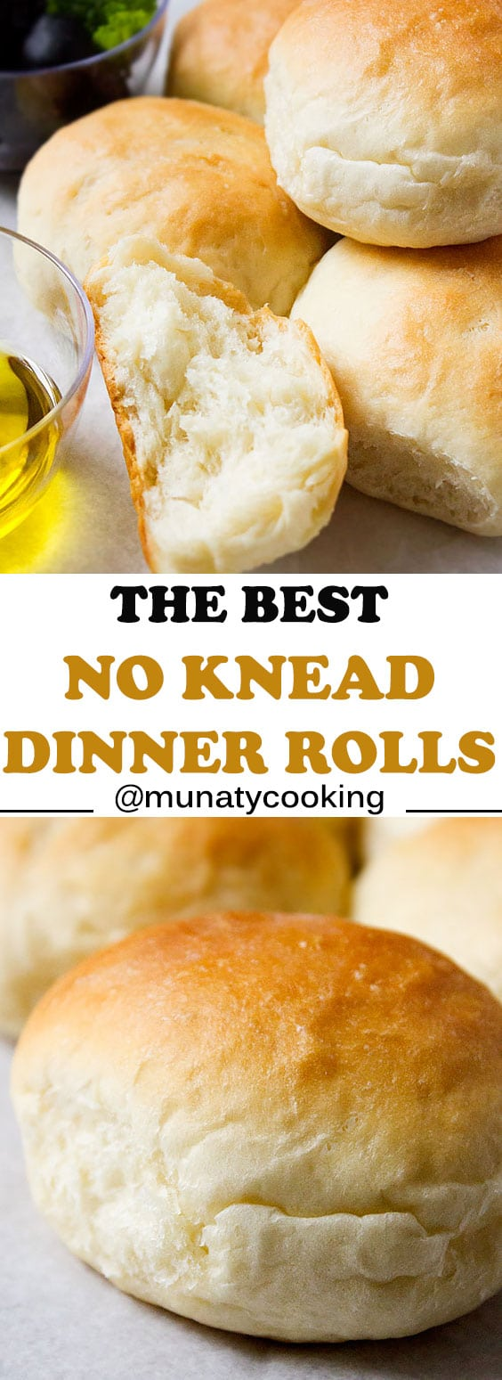 No Knead Dinner Rolls. Fluffy and soft, these dinner rolls are egg free and are so easy to make. Enjoy it with your favorite soup or gravy. Perfect recipe for those days when you don't have much time on hand. www.munatycooking.com | @munatycooking