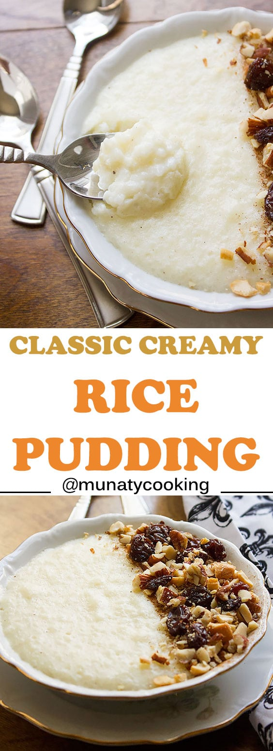 Classic Rice Pudding. Creamy and delicious, perfect for breakfast, snack, or even dessert. Make it using leftover rice. Have it warm or chilled! www.munatycooking.com | @munatycooking.