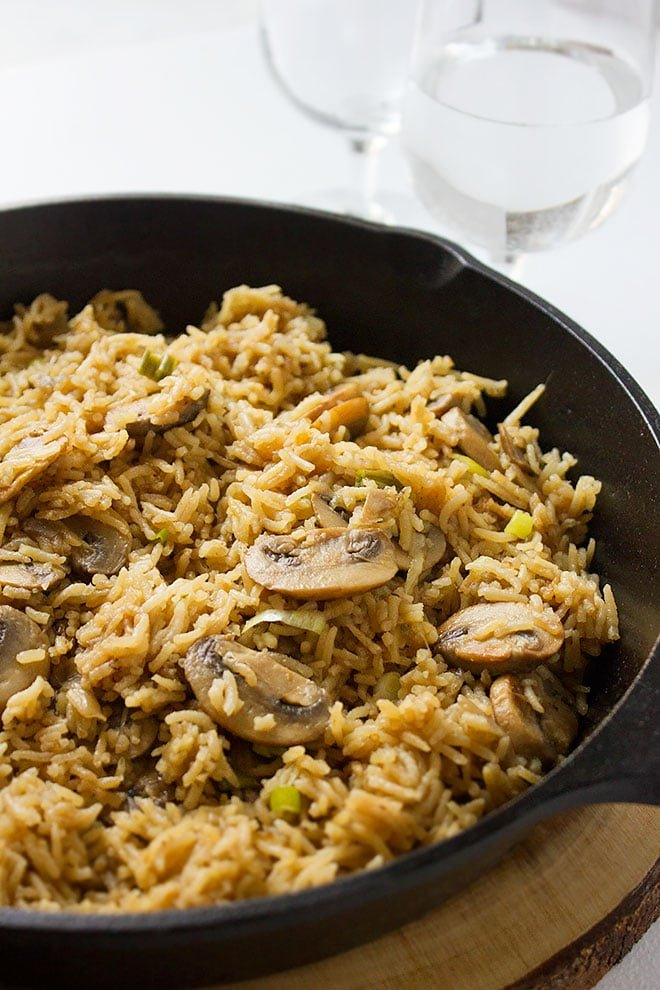 Close up of Mushroom and rice freshly made and served.