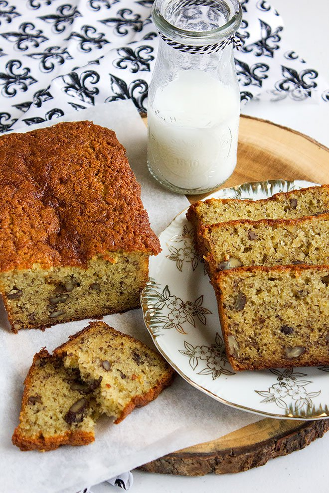 Banana Bread Recipe, the perfect dessert served with chilled milk.