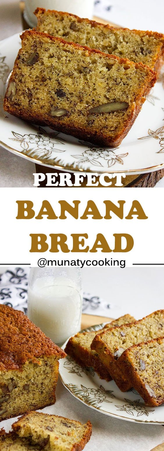 Perfect Banana Bread Recipe. Delicious and easy, classic banana bread recipe. No need for a mixer, super simple yet turns out awesome every time. www.munatycooking.com | @munatycooking