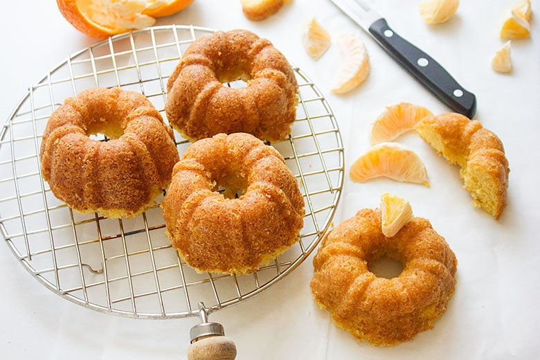 Overhead shot of Tangerine Cake. mini bundt tangerine cakes.
