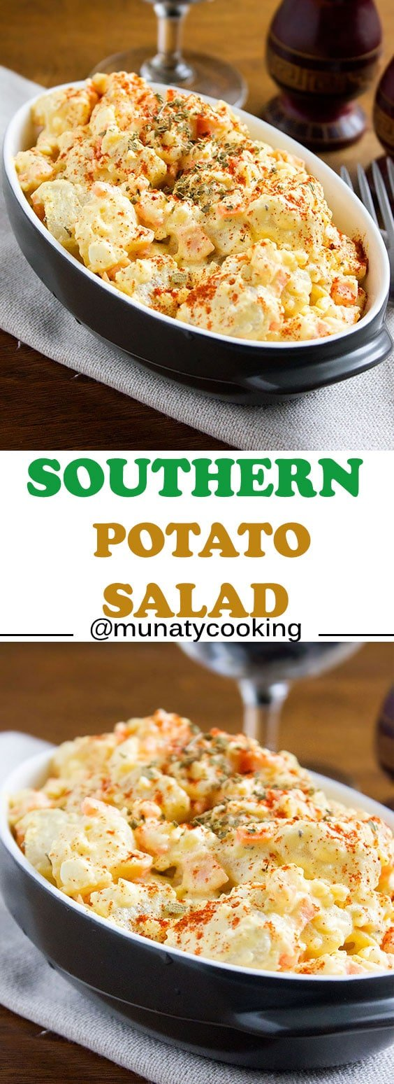 Southern Potato Salad. Delicious, classic, and creamy potato salad. Make the BBQ more fun by having this salad on the side. Although simple, but have great southern flavors and is a great snack too. www.munatycooking.com | @munatycooking