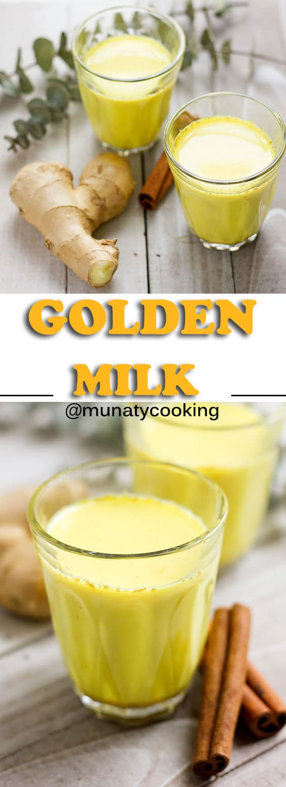 Golden milk recipe for a creamy and delicious drink. Your favorite type of milk mixed with warm earthy spices. Anti-inflammatory and healthy drink that can be consumed hot or cold. www.munatycooking.com | @munatycooking. #goldenmilk #ayurveda