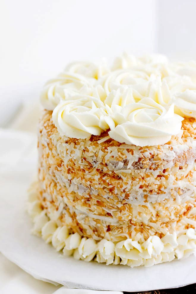 Easy to make Coconut Cake recipe, buttercream frosting recipe included.