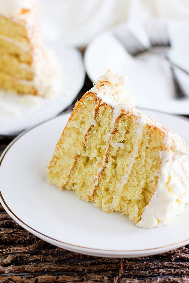 Close up image of Coconut Cake. Frosted Layered cake.