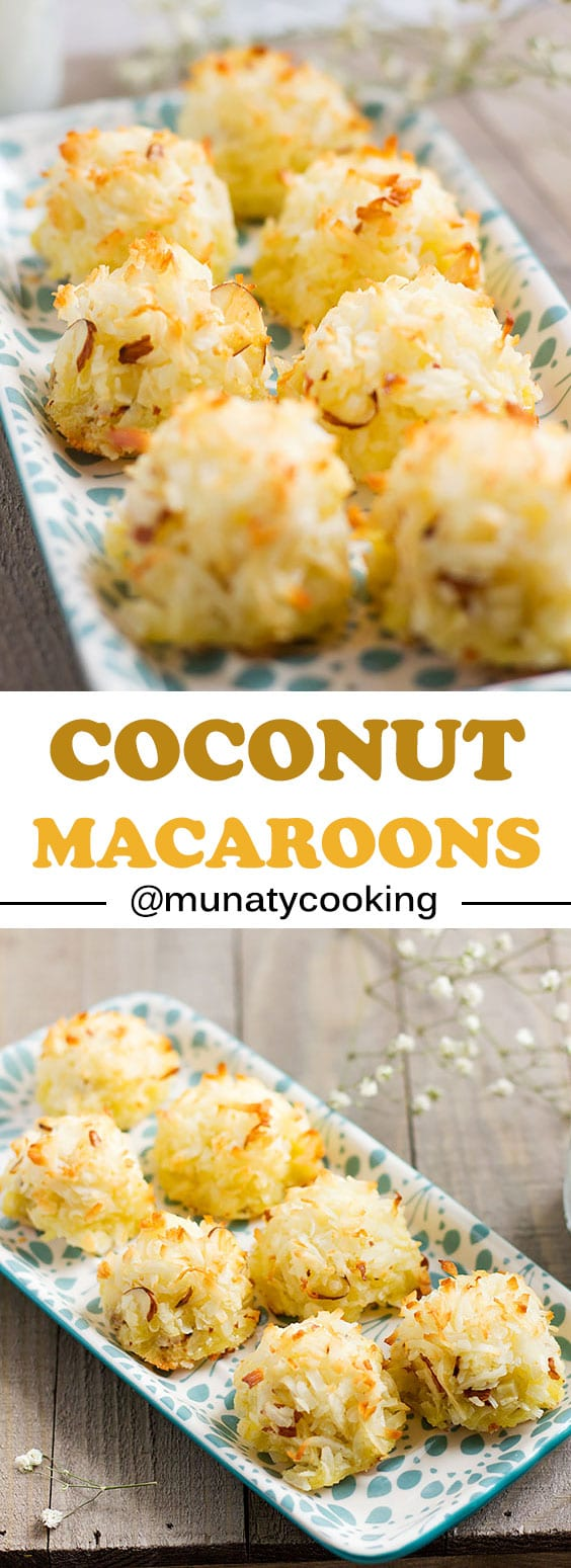 Coconut Macaroons. Golden sweet delights that will vanish in no time. These beauties are ready in under 30 minutes. #macaroons #recipe #coconutrecipe #coconuts #dessert