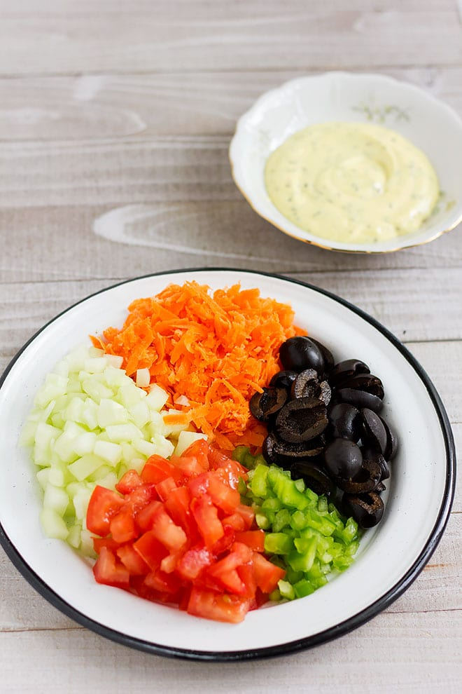 chopped vegetables used in macaroni salad.