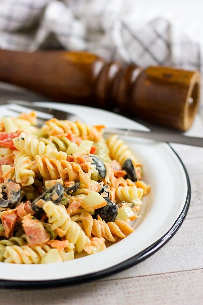 Side shot of pasta salad.