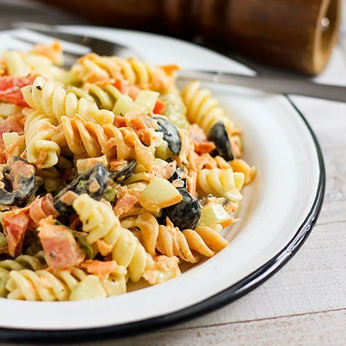 Feature image of pasta salad recipe.