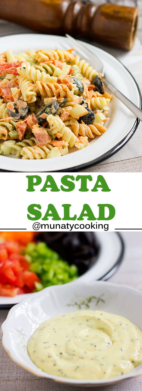 Pasta salad recipe also includes the recipe for a creamy dressing. Perfect for Summer and great when served as a side dish with grilled steak.