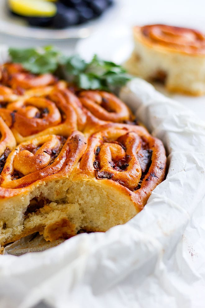 mushroom onion pinwheels with one roll missing.