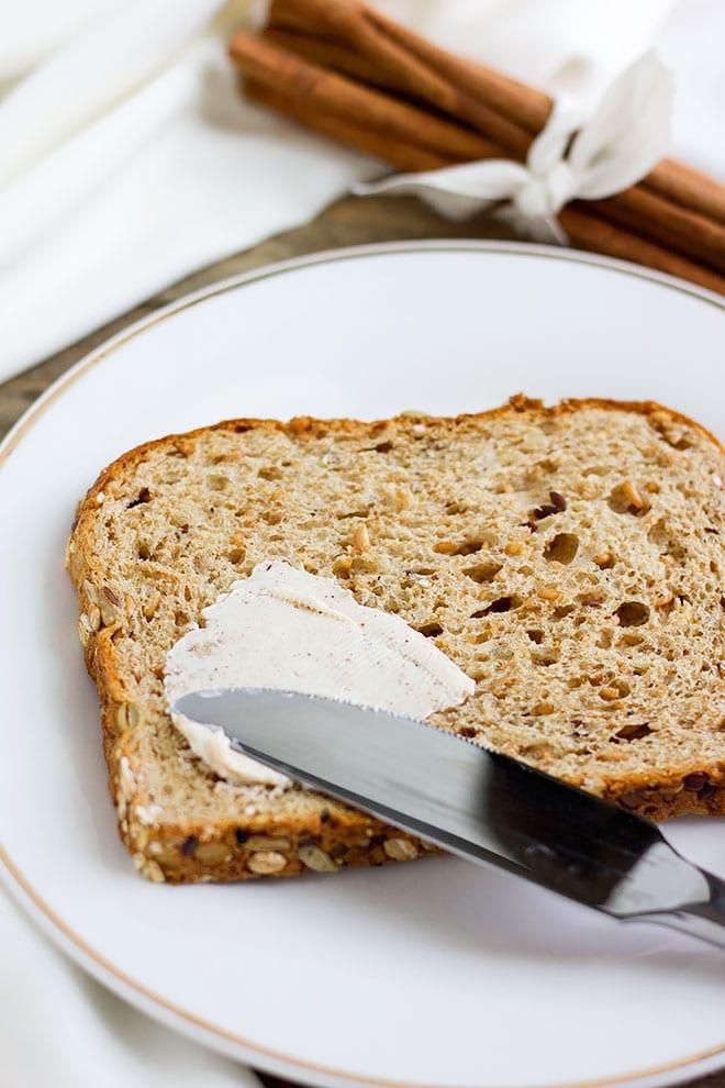 flavored butter spread on slice of bread. #breakfast #flavoredbutter #homemade