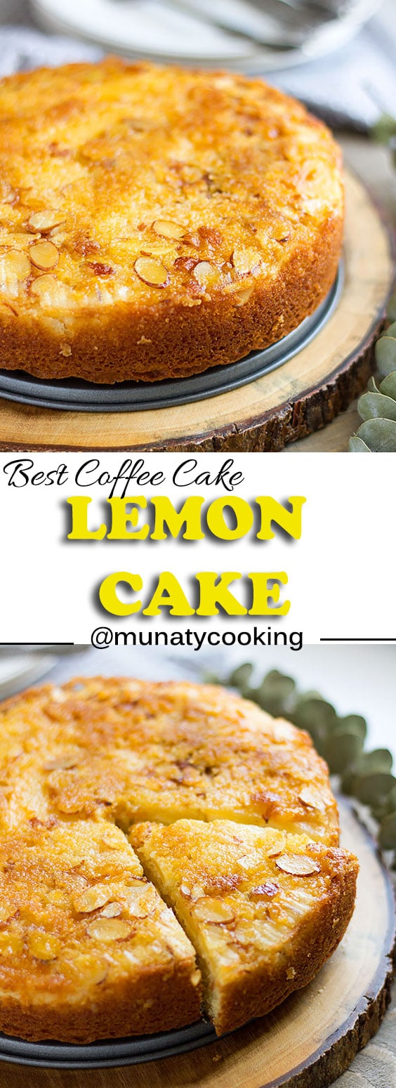 Lemon cake recipe. Moist lemon cake with almond and caramelized apple. Perfect dessert for BBQ. #lemoncake #cake #cakerecipe #moistcake