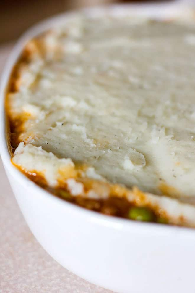 shepherd's topped with mashed potato