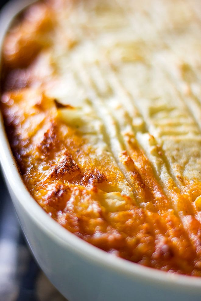 shepherd's pie out of the oven and ready to be served.