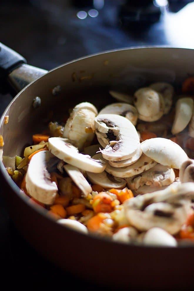 mushroom getting fried.