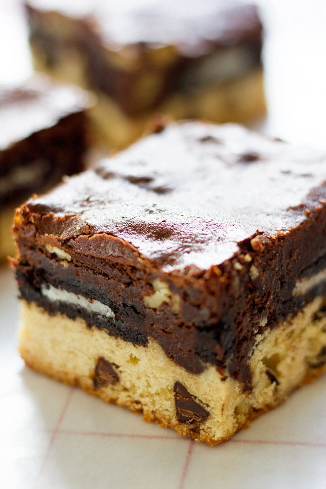 Slutty brownies cut in cubes. #chocolate