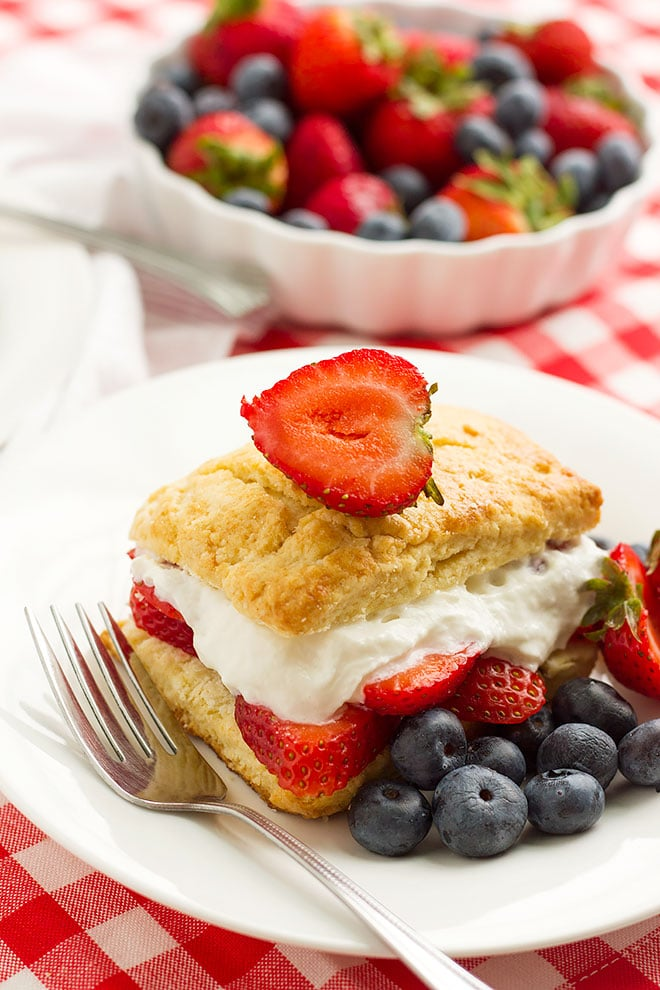 lose up side image of strawberry shortcake recipe. #shortcake #recipe