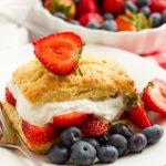 feature image of strawberry shortcake recipe post.