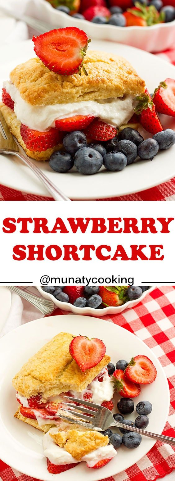 Strawberry shortcake recipe. This recipe for tender and buttery biscuits with fresh strawberries and whipped cream. #shortcake #recipe #strawberry #strawberries