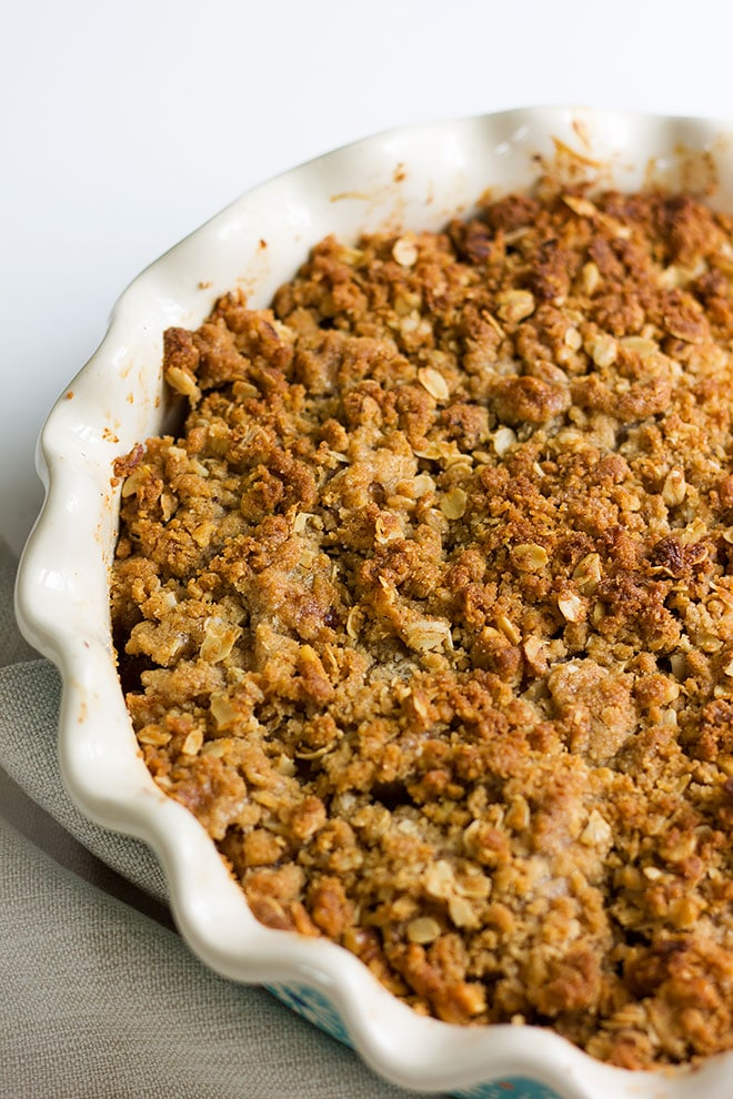 Apple crumble freshly baked and out of the oven