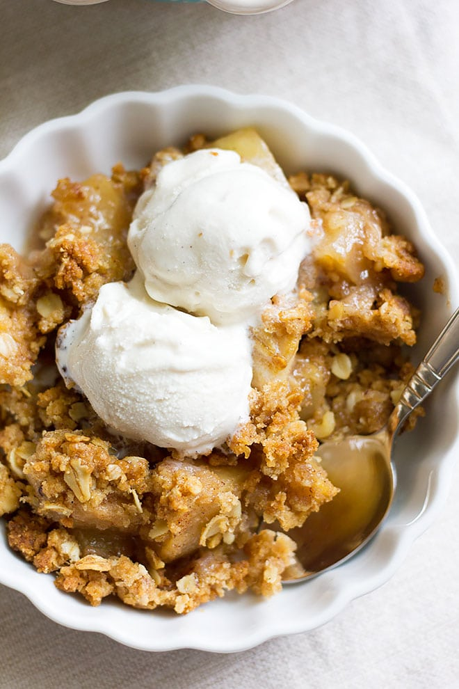 Apple crumble served and ready to be eaten by you